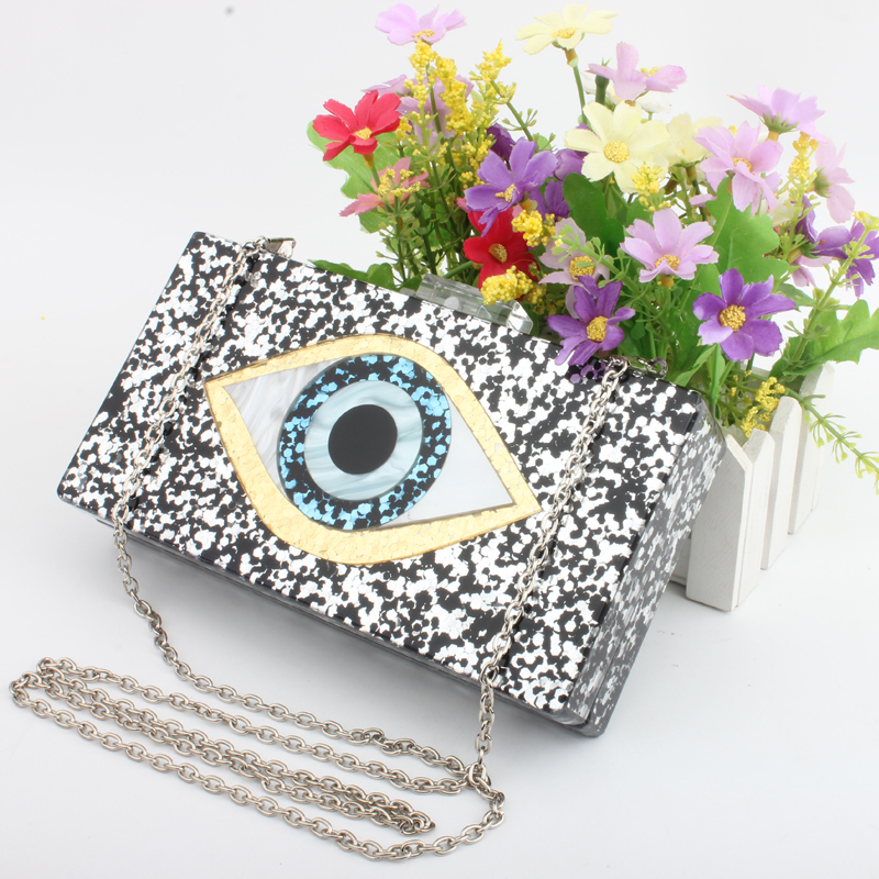 Women Clutch Evening Bag Eyes Print Shiny Acrylic Gold For Wedding Party Fashion Handbags Chain Shoulder Bag Messenger Bags Top figure print chain bag