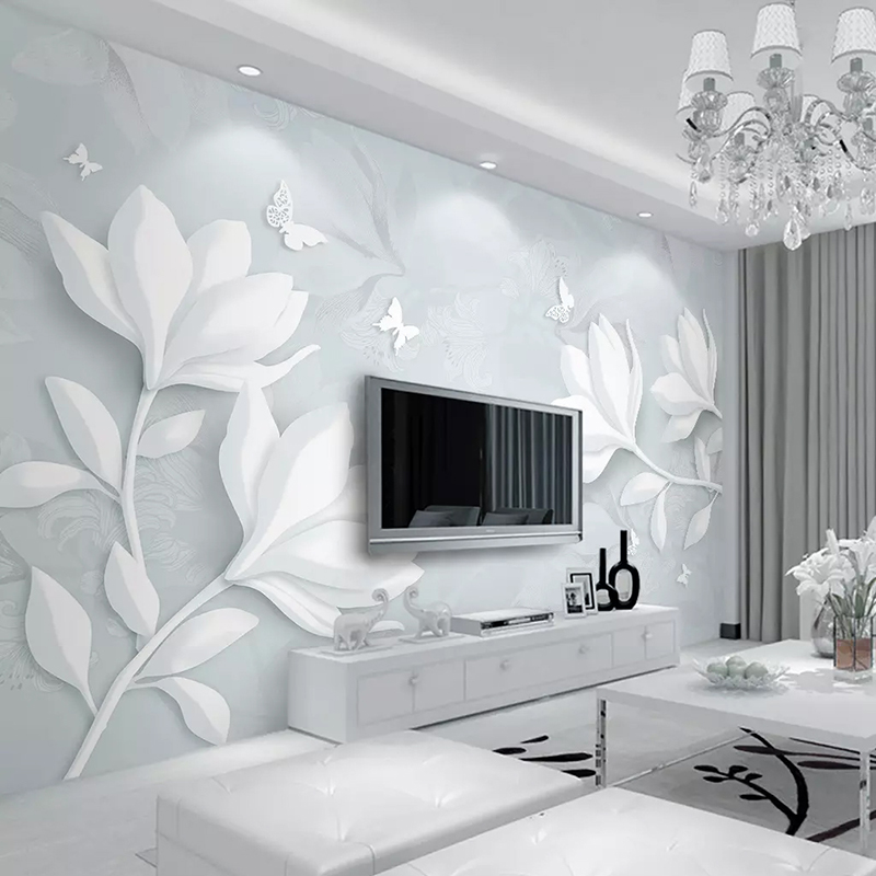 Custom Any Size Mural Wallpaper Modern Simple White Relief Magnolia Butterfly Photo Wall Paper Living Room Bedroom 3D Home Decor