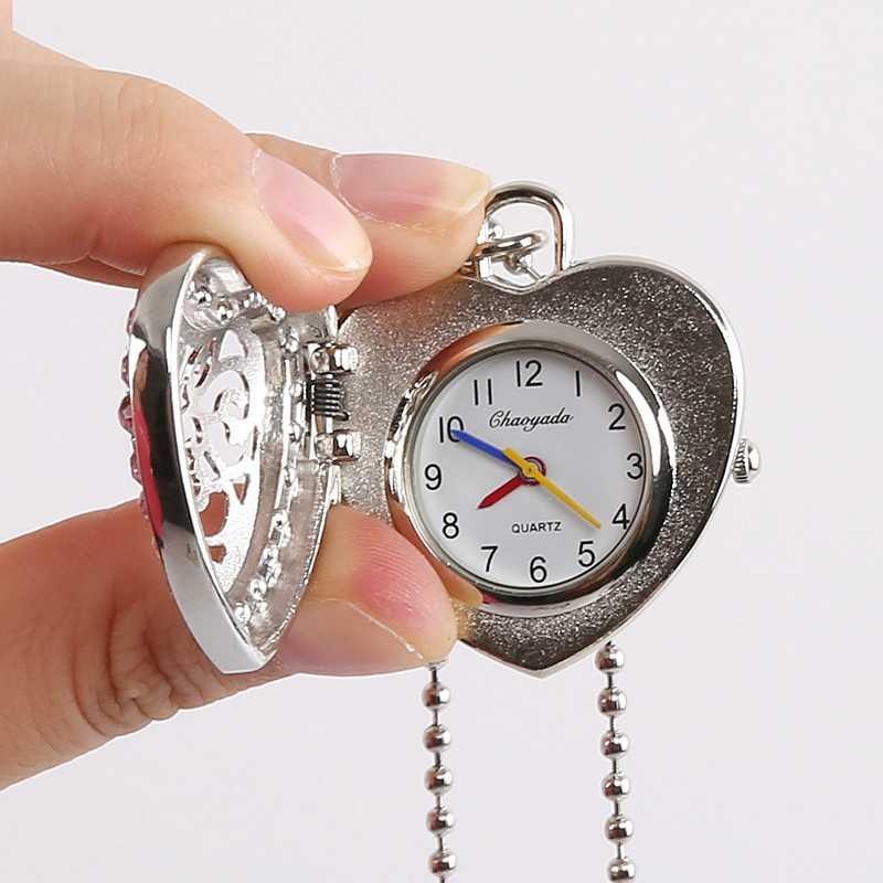 R hinestonesหัวใจสไตล์กระเป๋าสร้อยคอผู้หญิงสาวชุดนาฬิกาสร้อยคอยาวคริสตัลเพชรจี้โลหะนาฬิกาGL18
