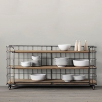 75cm High Industry Chic Movable Shelf Trolley Cabinet with Casters / 40cm Depth Shelf