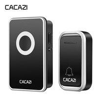 CACAZI умный беспроводной дверной звонок Водонепроницаемая Батарейная Кнопка 300 м дистанционный светодиодный светильник для дома дверной зво...