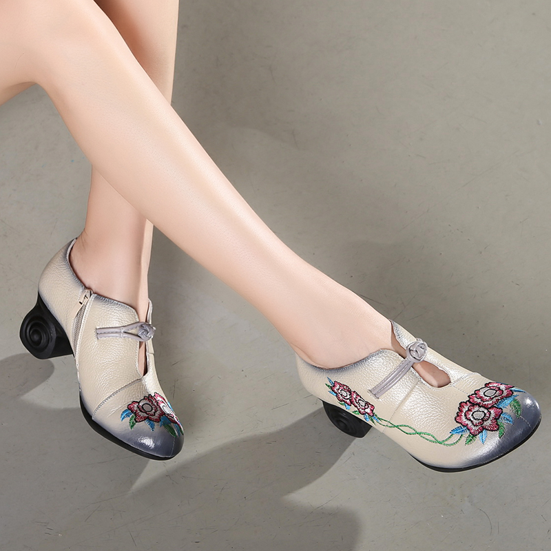 Tyawkiho Women Embroidery Pumps Grey Lady 6CM High Heels Red Pumps Handmade Women Leather Pumps Autumn