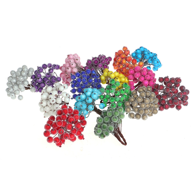 40pcs Mini Fake Fruit glass Berries Artificial pomegranate red cherry Bouquet Stamen Christmas Decorative Double heads -Y102 4