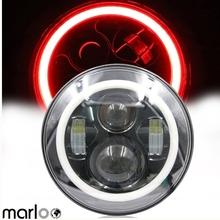 Marloo 7″ Motorcycle Daymaker Projector Headlight White Turn Red DRL Halo Lights For Harley Road King, Custom Classic, Touring