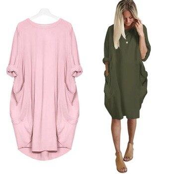 d5b3387b4 Vestido flojo ocasional otoño manga larga maternidad ropa para mujeres  embarazadas Vestidos gestantes señora Vestidos embarazo vestido
