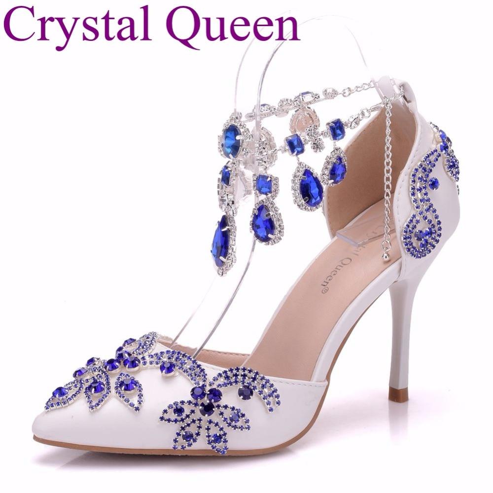 Crystal Queen Rhinestone Flower Women Pumps Pointed Toe High Heels Sexy Pumps Party Wedding Shoes Rhinestone