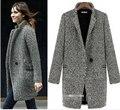 Бесплатная доставка новая коллекция весна / лето плащ женщины серый средней длины завышение Большой размер теплый шерстяной ветровка мода пальто