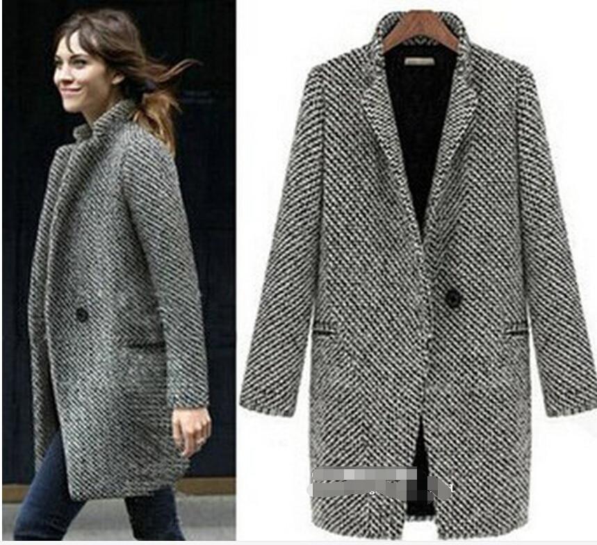 Free Shipping New Spring/Winter Trench Coat Women Grey Medium Long Oversize Plus Size Warm Wool Windbreaker Fashion Overcoat