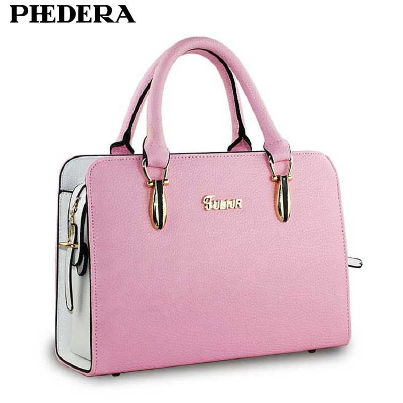 PHEDERA Brand Hot Sale Ladies Totes Bags Fashion Summer Candy Color Bags High Quality PU Leather Pink/Purple Female Handbags