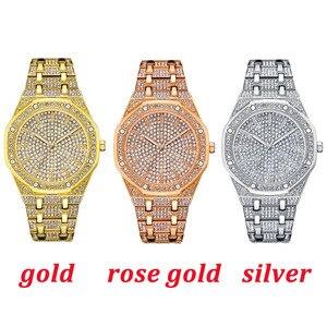 Image 3 - KIMSDUM erkekler saatler 2019 lüks marka tasarım kuvars elmas izle erkekler için buzlu Out İzle AAA su geçirmez deri kol saati
