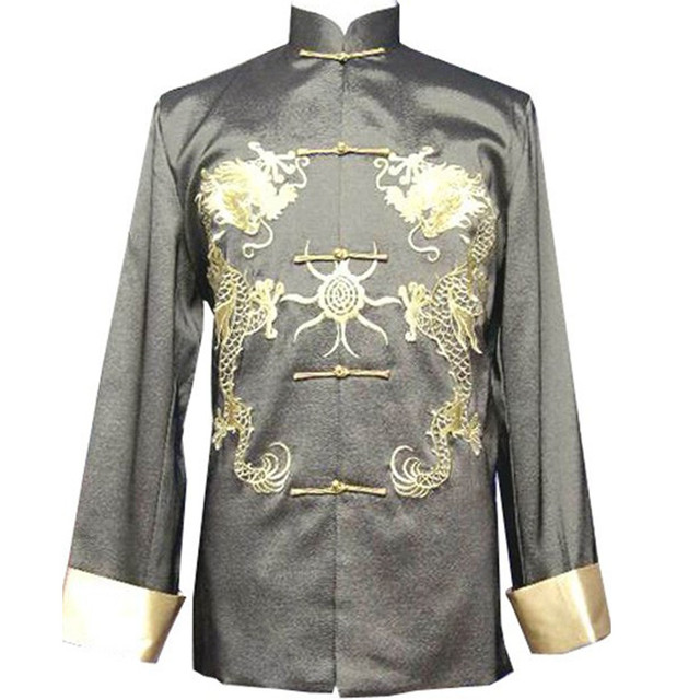 Gray New Traditional Chinese Men's Silk Satin Embroidery Jacket Coat Long sleeve Tang Suit Dragon Size S M L XL XXL XXXL M1010