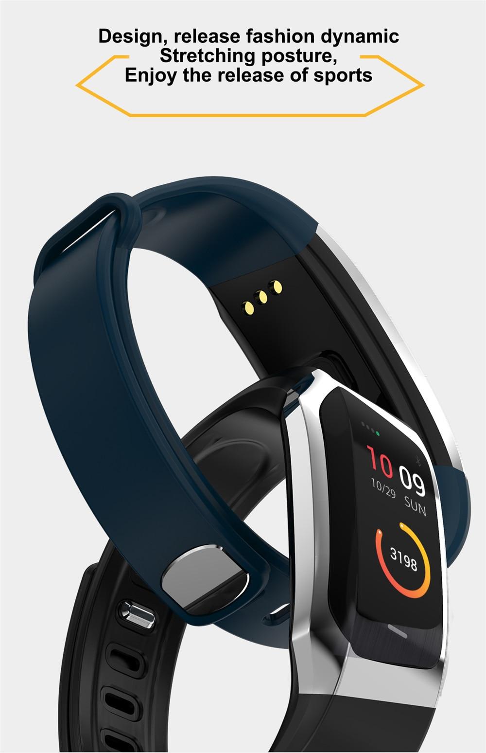 HTB1QKiTdjfguuRjSspaq6yXVXXaB Greentiger E18 Smart Bracelet Blood Pressure Heart Rate Monitor Fitness Tracker smart watch IP67 Waterproof camera Sports Band