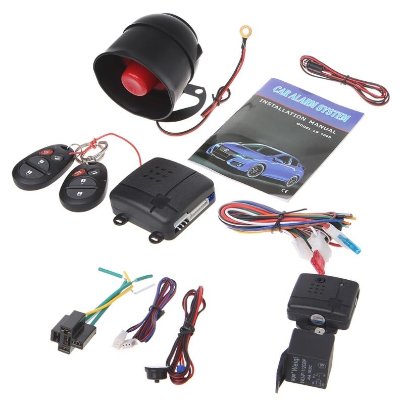 1-Way Car Vehicle Burglar Alarm System Keyless Entry Security System w/ 2 Remote