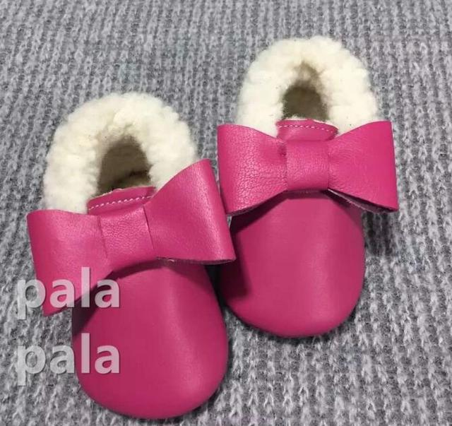 New Arrival baby moccasins Rubber soled  Butterflt-knot Cow leather Fur  Prewalker  Princess infant Kids Baby shoes First Walker
