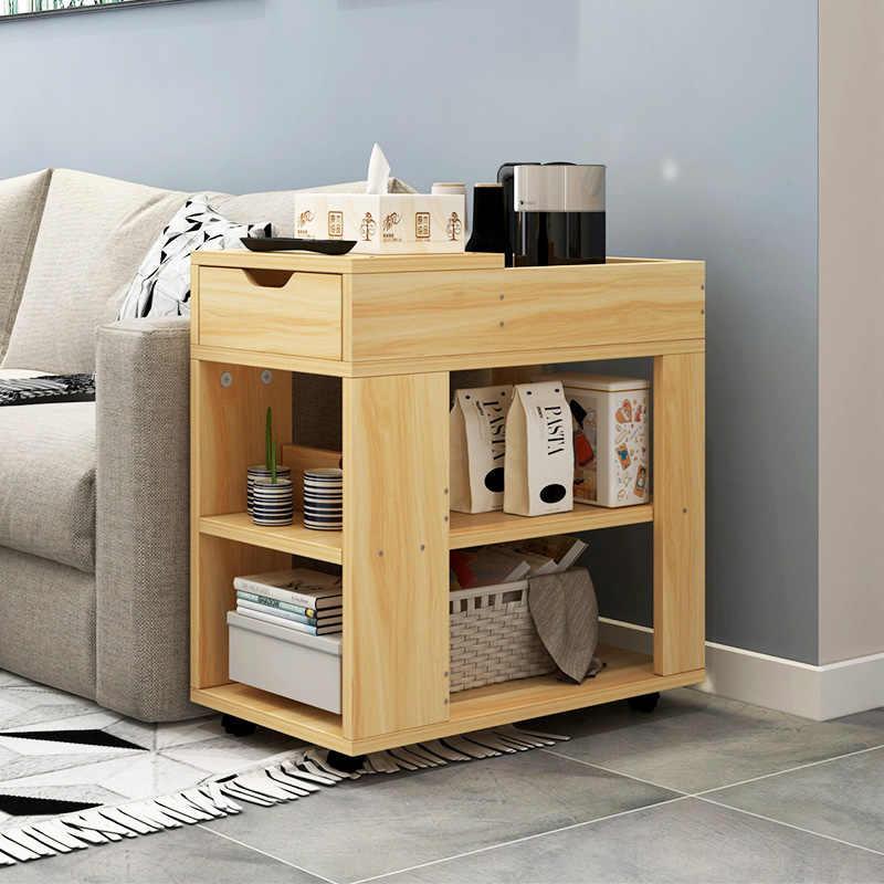 Одноцветное деревянный чайный столик сторона столик офисный кофейный столик полка для журнала малый подвижный Гостиная мебель