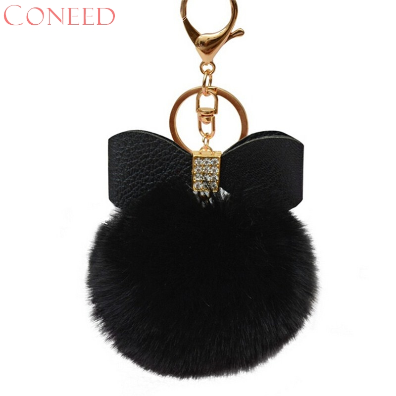 CONEED Drop Ship Fluffy Faux Rabbit Fur Ball Bowknot Bag Acessories Charm Handbag Access Juy26x faux leather bowknot uncle moon choker