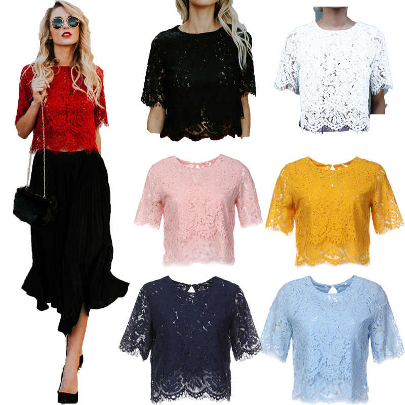 Elegante Vrouwen Hollow Out Losse Korte Mouwen Tops Lace Bloemen Korte Mouwen Blouse Shirt Casual Lace Tops Shirt Dames