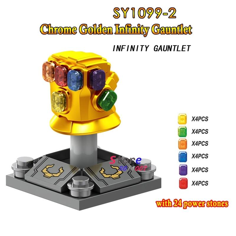50pcs Marvel Avengers 3 Infinity War Thanos Infinity Gauntlet SY1099 2 with 24pcs gemstones building block