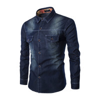 2019 New European And American Style Super Large Size Men's Denim Shirt Chest Double Pocket Slim Long Sleeve Shirt