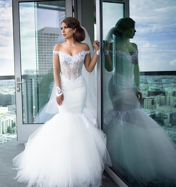 19e361854f1ee See Through Long Sleeve Mermaid Wedding Dresses 2017 Sexy Off The Shoulder  Tulle Bridal Wedding Gowns Robe De Mariee Sirene