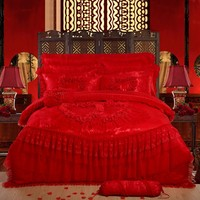 Oriental lace red pink luxury bedding set queen King size wedding bed cotton bed sheets duvet cover set bedspreads decoration