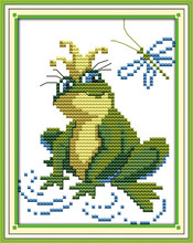 Frog cross stitch kit animal 18ct 14ct 11ct count printed canvas stitching embroidery DIY handmade needlework plus(China)