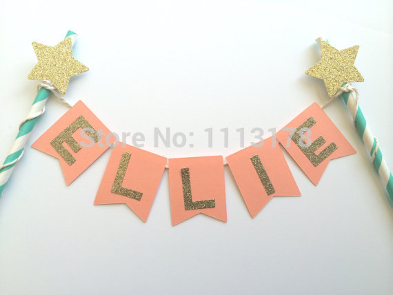 custom names cake topper with straw bunting banner 1st birthday