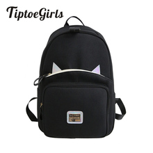 Oxford Cloth Woman's Leisure Backpack Bag Cat Ears Lovely Soft Backpack Bag Quality Students Schoolbag Fabric Backpack Bag цена