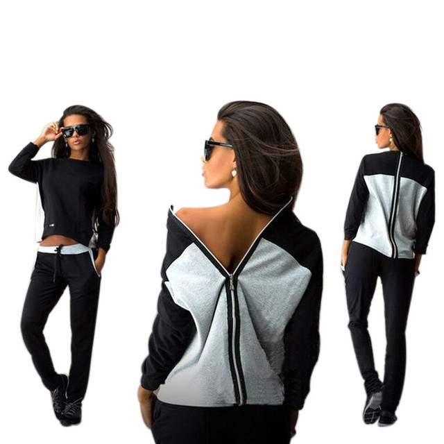 Women Autumn Winter Black White Stitching Tracksuit Suit Set Long Sleeve Zipper Sweatshirt Casual Outwear Hoodies +Long Pants