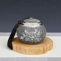 Latas de Chá Kung Fu Jogo de Chá de Prata pura Handmade Pura Prata Pé 999 Flowers Blossom Rica Casa Latas de Chá jogo de Chá|Jogos de chá| |  -