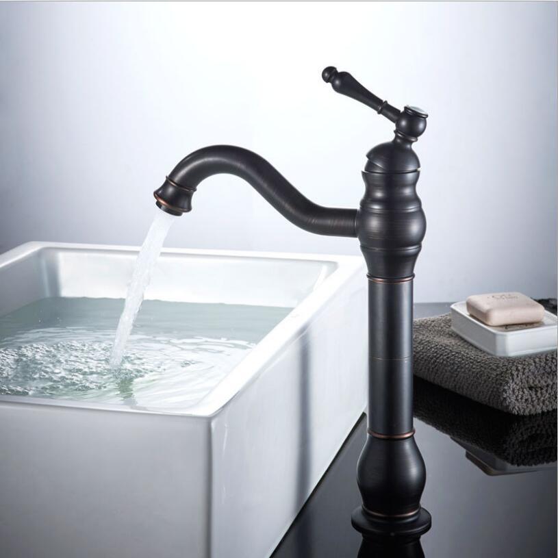 Black oil brushed antique bronze basin faucet tall swivel - Oil brushed bronze bathroom faucets ...
