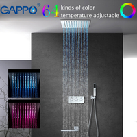 GAPPO Shower Faucet Waterfall Bathroom Mixer Faucet LED Rainfall Shower Set Faucet Bath Tap Wall Mounted Rain Shower system