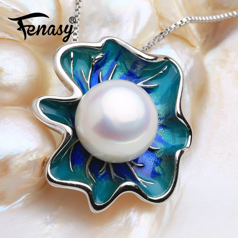 FENASY Natural Freshwater Pearl Pendant Necklace For Women 925 Sterling Silver Bohemian Shell Shape Pendant With 10-11 mm BeadsFENASY Natural Freshwater Pearl Pendant Necklace For Women 925 Sterling Silver Bohemian Shell Shape Pendant With 10-11 mm Beads