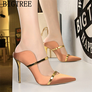 yellow shoes mules high heels bigtree shoes pointed toe high heels black pumps women shoes sexy high heels stiletto buty damskie 1
