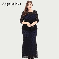 Angelic Plus 2018 Hot sale Spring Autumn Lady's O neck Long Party wedding Prom Elegant Dress Plus Size Maxi Lace dress for Women
