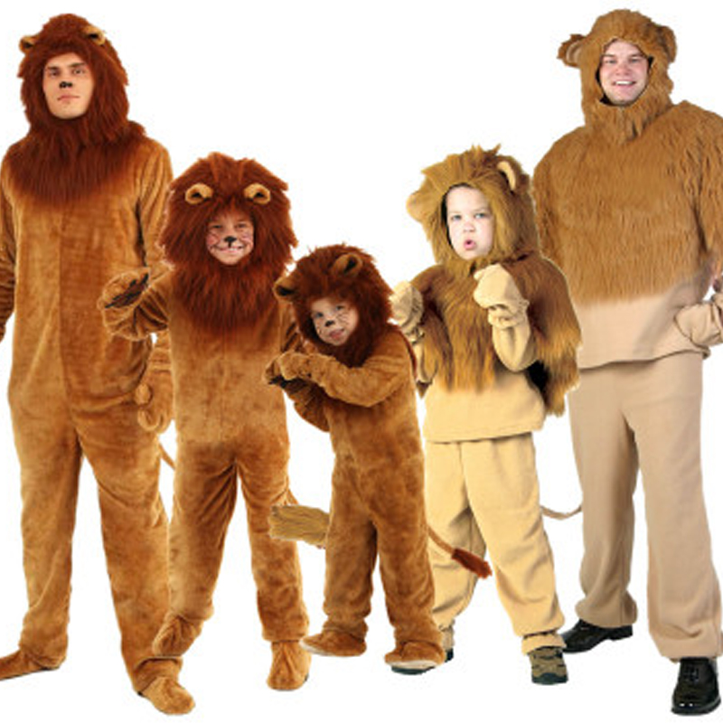 Halloween children's cosplay costume Wizard of Oz, stage performance, adult children long haired lions costumes.