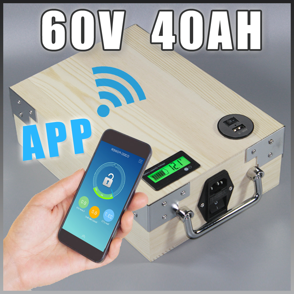 app 60V 40Ah Electric Bicycle Lithium Battery + BMS ,Charger Bluetooth GPS control 5V USB Port Pack scooter electric bike