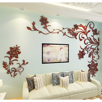 European Style 3D Flower Tree Wall Sticker Living Room Decorative Decals Home Art Decor Poster Solid Acrylic Wallpaper Stickers 7
