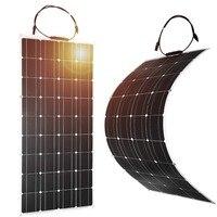 Dokio 2 PCS 100 W ยืดหยุ่นแผง Monocrystalline แบบพกพา 100 w โซลาแผงสำหรับวันหยุดและ RV & เรือ hiquality Solar Cell จีน