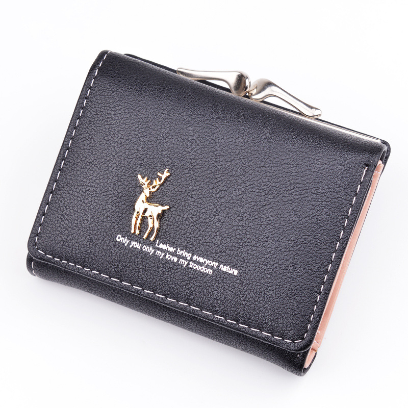 Cute Deer Women Mini Wallet Short Leather Wallet Girl Folding Wallets Clutch Pu Card Holder Ladies Purses Retro Portfel Damski