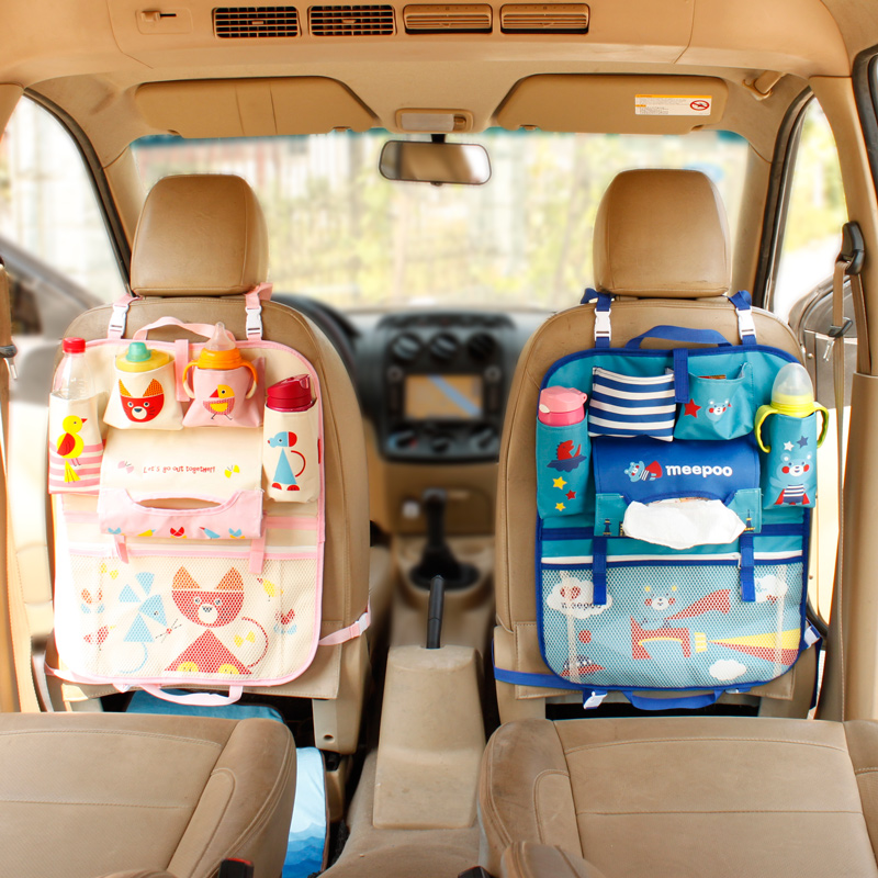 Multifunction Oxford Organizer Rangement Tebal Kereta Seat Storage Storage Mummy Hanging Bag Lovely Cartoon Cute Baby Supplies Bag