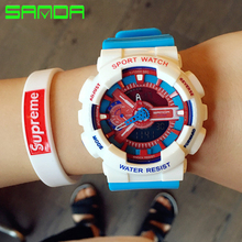 SANDA 2017 Sports Watches Men Electronic Digital Analog Shockproof Silicone Quartz Watch Waterproof Wristwatches for Mens