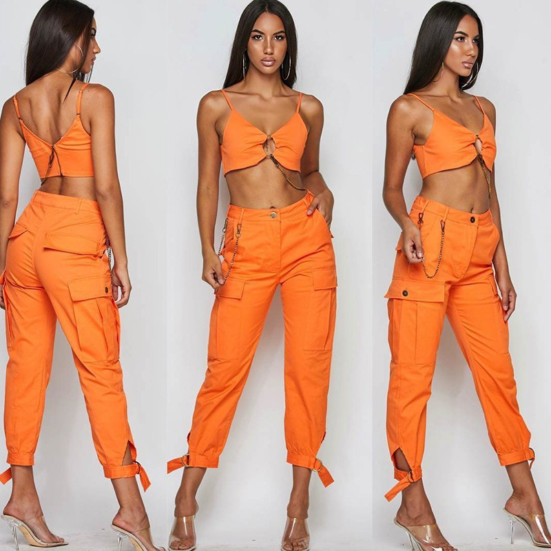 99663e60410 BOOFEENAA Fashion Sexy Two Piece Set Crop Top and Cargo Pants Chain Ring  Orange Club Outfits Streetwear Matching Sets C76 BC45-in Women s Sets from  Women s ...