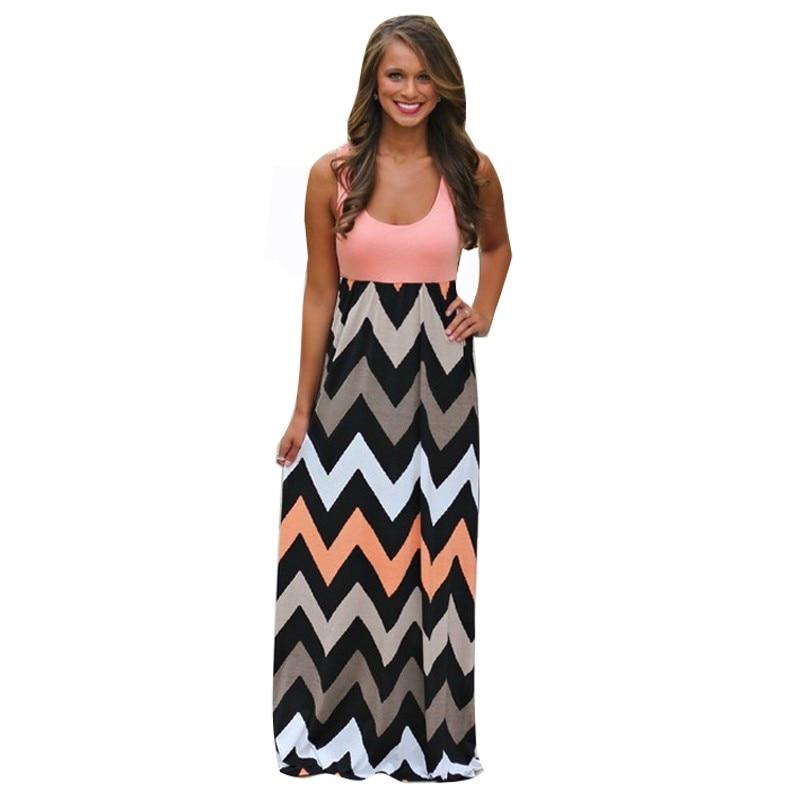 d9c9d35549 Aliexpress.com  Comprar 2018 Hot Sexy mujeres vestido o cuello rayas  imprimir Maxi vestido casual vestido largo sin mangas vestido de verano de  playa ...