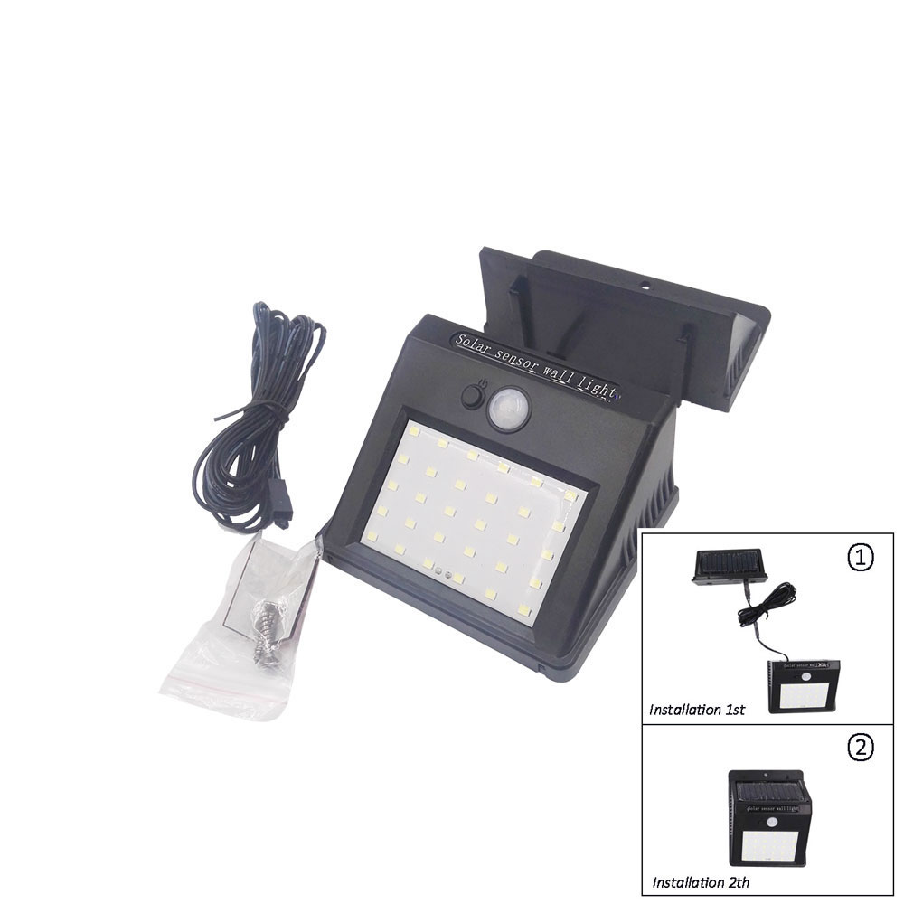 30 LED Outdoor Lighting Solar Powered Lamp Light Outdoor Wall Lamp Waterproof Solar Motion Sensor Garden Light With Cable luminaria luz led solar garden light lamp with 40 lights solar powered led wall light outdoor lighting free shipping