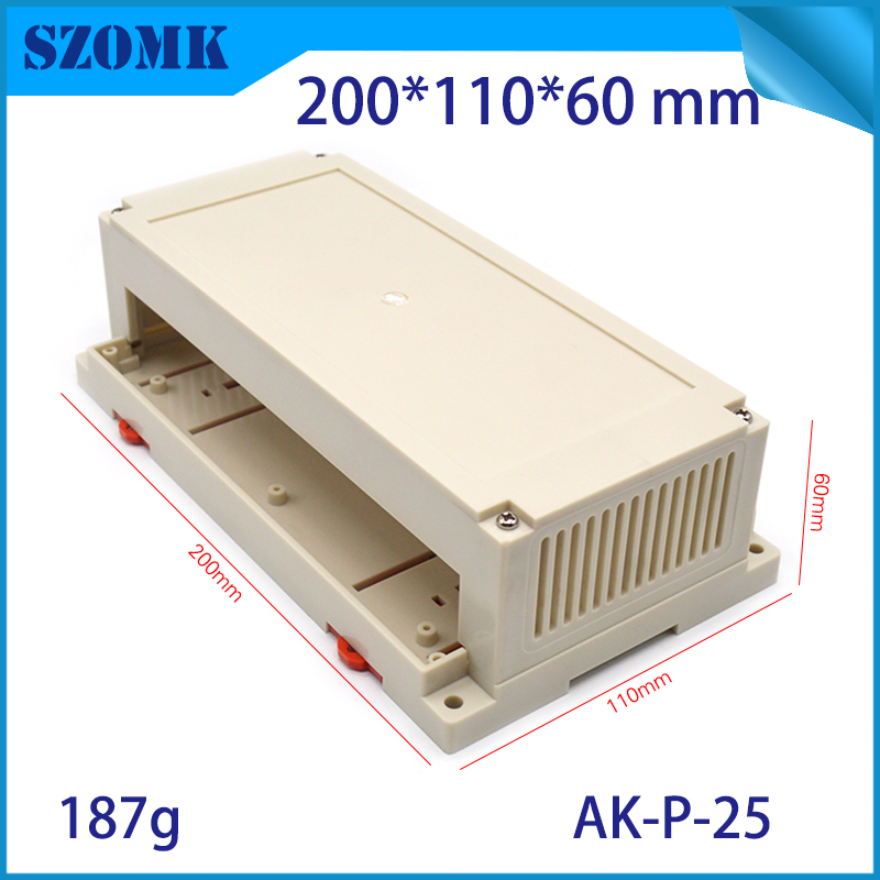 one plastic din rail case 200x110x60mm plastic case rail din electronic enclosures for led housing case box din rail box szomk 1 piece plastic box electronics din rail housing szomk din rail plastic enclosures junction box connector terminal block case