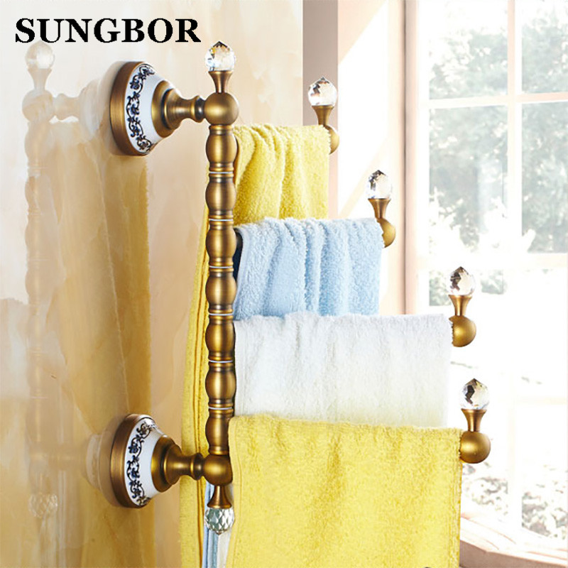 цена на Vintage Style Towel Bar Antique Brass Ceramic Four Tiers Antique Brass Wall Mounted Revolve Bathroom Towels Holder GJ-5616K