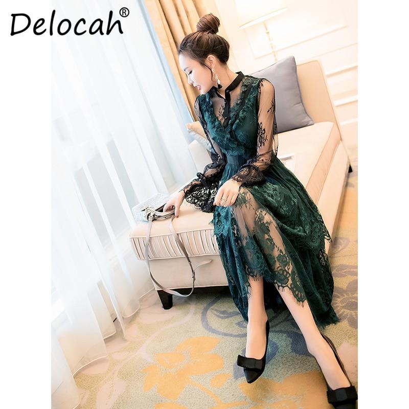 Delocah Women Spring Summer Dress Runway Fashion Designer Gorgeous Mesh Floral Lace Elegant Slim Modern Midi