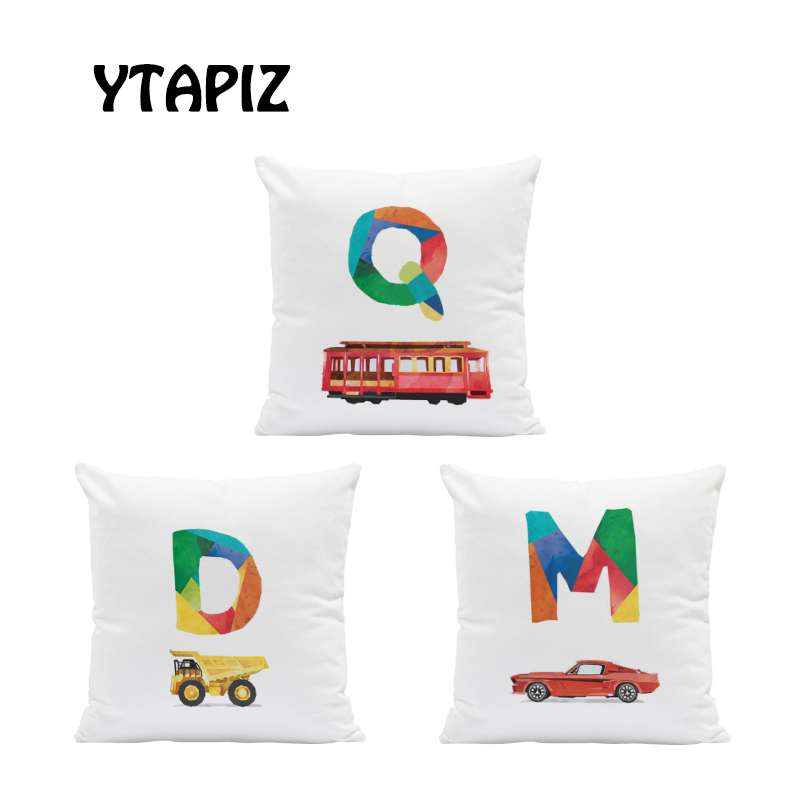 Fashion Color Letter Pillow Set Airplane Car Motor Boat Train Tool Decoration Farmhouse Bedroom Sofa Cushion Cover 45*45 Velvet image