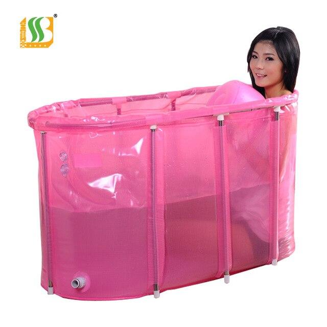 Double sponge inflatable bathtub folding bathtub bath bucket bath ...